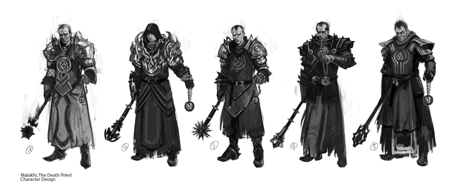 Malakhi, the death priest - Initial sketches